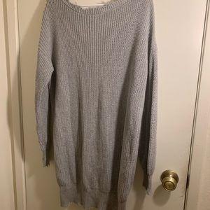 Distressed mini sweater dress
